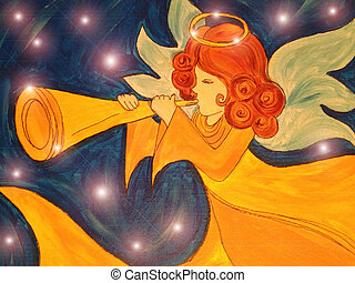 Angel With Trumpet and Stars