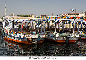 Traditional Nile motorboat - Modern traditional river Nile...