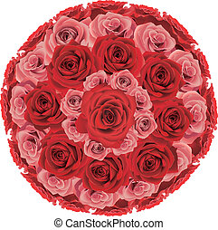 Rose bunch with red and pink ones