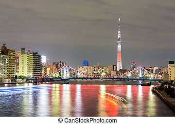 Tokyo skytree at night - Tokyo cityscape and Tokyo skytree...