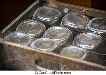 Old fashon jars in a wooden box - Rustic style wooden box...