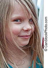 Cute 5 Year Old Girl Portrait Closeup - This cute 5 year old...