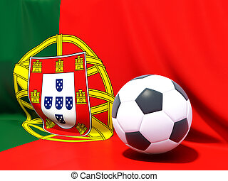 Flag of portugal with football in front of it