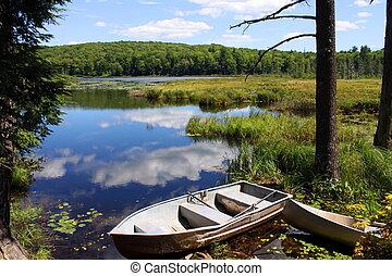 Row boat and blue lake