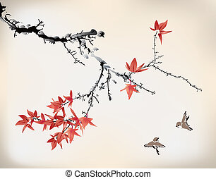 ink style maple leaves