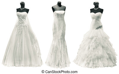 Wedding Dresses Cutout - Three Wedding Dress Isolated with...