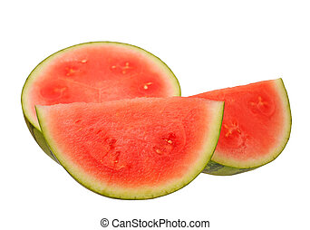 cutting watermelon isolate on white