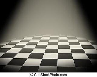 Empty chess board  - Illuminated empty chess board