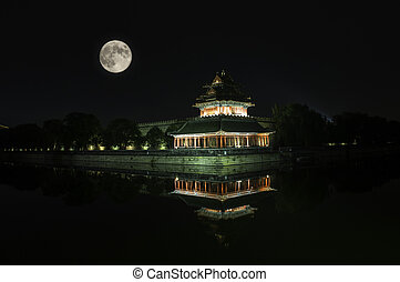 watchtower - The watchtower of the Forbidden City under the...