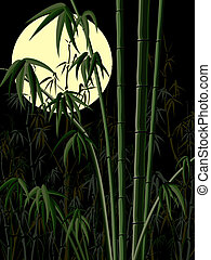 Bamboo forest at night. - Vector abstract vertical dark...