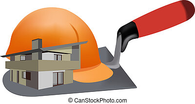 construction logo - helmet protection, villa, cottage,...