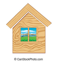 Home icon on white background - Wooden lodge with window on...