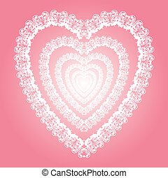 Shiny white lace-like heart, love s - vector eps 10, hi-res...
