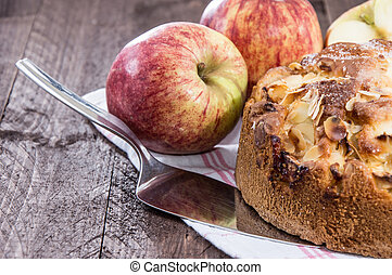 Fresh Apple Cake on wooden background