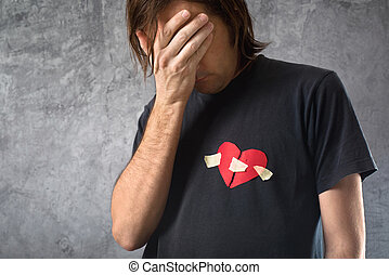 Broken hearted man is crying. Valentines day concept. Broken...