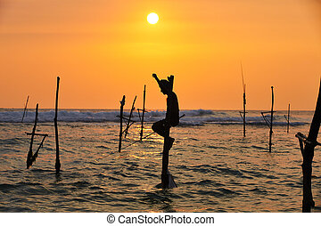 Stilt fishing - Silhouette of the traditional fisherman at...