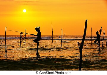 Stilt fishing - Silhouettes of the traditional fishermen at...