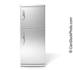 3D, render, grand, argent, réfrigérateur,...