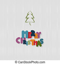 Vector Textile Background with Tree and Paper Merry Christmas Title