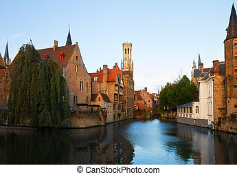 view of old town, Bruges - classical view of old town of...