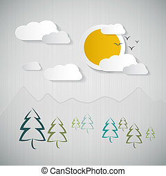 Abstract Nature Background with Paper Sun, Clouds, Trees and Mountains