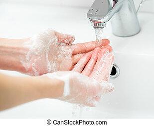 lavando, femininas, mãos, sabonetes, banheiro, fim,...