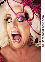 Singing Drag Queen - Singing beautiful Caucasian drag queen...
