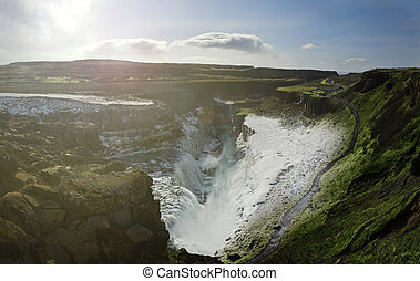 Gulfoss Panorama - Panoramic Image of the Gulfoss Waterfall,...