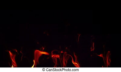 Flames on black background - HD 1080p - Filmed fire place,...