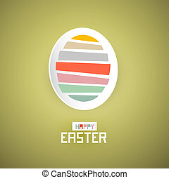 Retro Easter Green Background with Abstract Egg