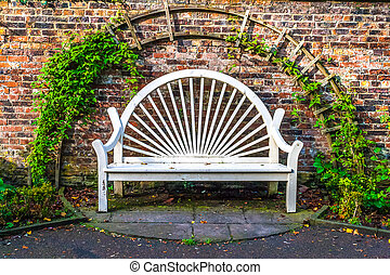 White Wood Town Park Bench - White wooden park bench in town...
