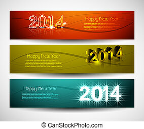 2014 New year colorful three headers and banners set vector...