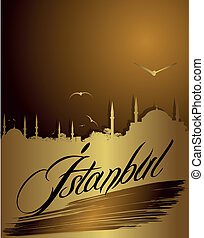 silhouette of Istanbul in golden color and mosques. eps 10...