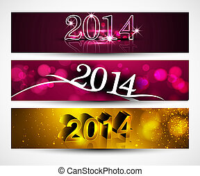 New year 2014 for shiny colorful headers and banners set...