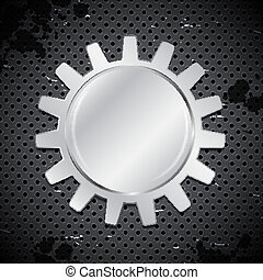 Industrial background with gear on metal circular grid....