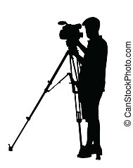 Silhouette of Movie Cameraman with camera on tripod stand