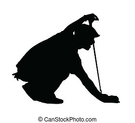 Golf Sport Silhouette - Golfer kneeling judging putting...