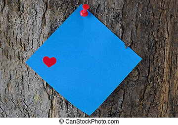 Blue Valentine Post It Note on a Tree Trunk - Blue post it...