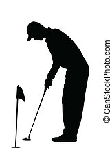 Golf Sport Silhouette - Golfer on practicing green - Golf...