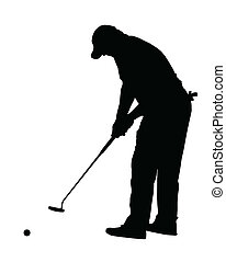 Golf Sport Silhouette - Golfer putting with rolling ball -...