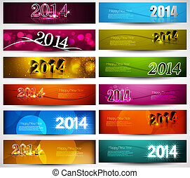 New year 2014 collection for colorful headers and banners...
