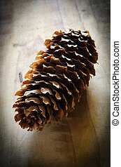pinecone on an old wooden table