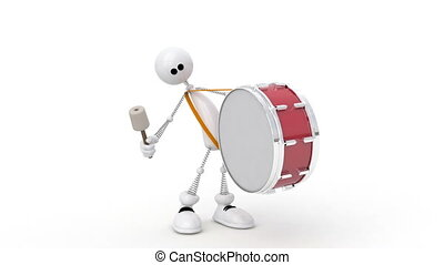 The 3D person with a drum. - Solemn Parade with musical...