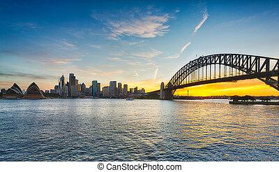 Dramatic panoramic sunset photo Sydney harbor - Dramatic...