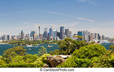 Dramatic panoramic photo Sydney harbor - Dramatic widescreen...