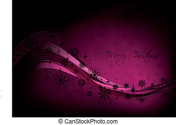 Christmas pink background with black snowflakes