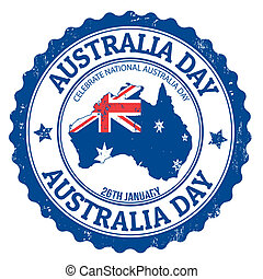 Australia day stamp - Grunge Australia day rubber stamp on...