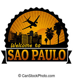 Sao Paulo travel label or stamp
