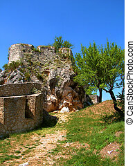Castle in Knin in Croatia. - Ruins of castle in Knin in...