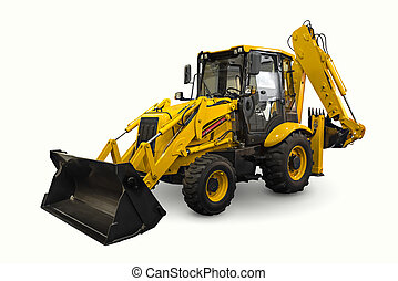 Loader - A yellow earth mover isolated on a white background